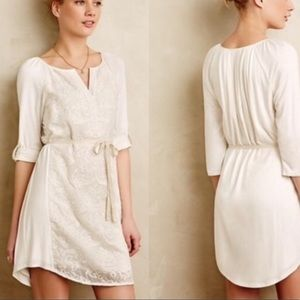 Anthropologie Tiny Paperwhites Embroidered Dress